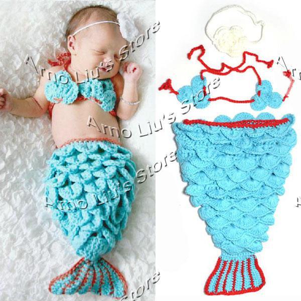 Compre Bebé Recién Nacido Del Ganchillo Cola De La Sirena La ...