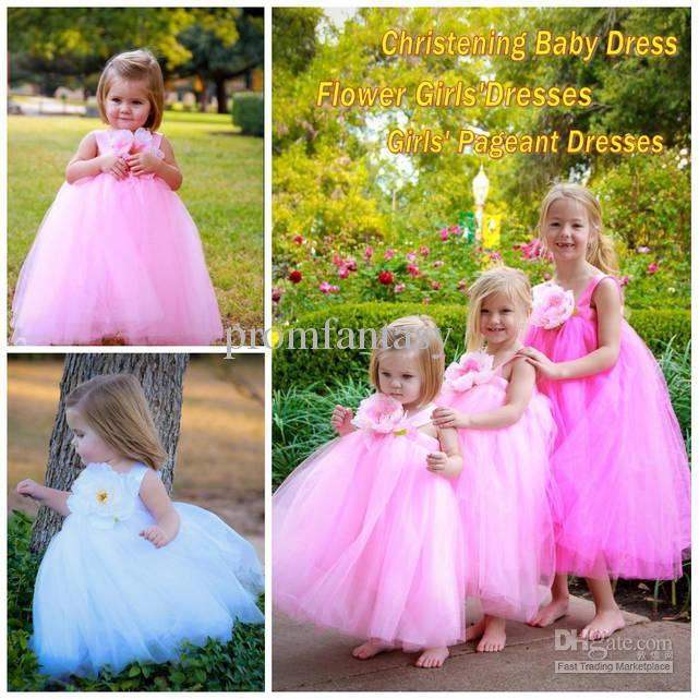 2015 Lovely Girls Tutu Dresses Tea Length White Light Pink Tulle Floral Christening Baby Wear Wedding Party Flower New Gowns
