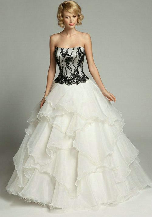 2013 White Wedding Dresses With Black Lace Ball Gown Strapless Beads ...