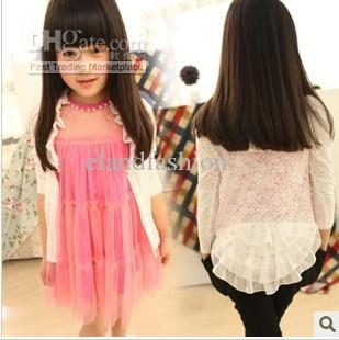 Summer Fashion New Girl Lace Cardigan Kids Hot Sale Long Sleeves ...