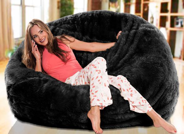 2019 Long Fur Solid Black Beanbag Lounge Extra Large Big