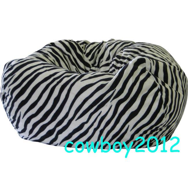 Zebra Print Beanbag Chair Living Room Bean Bag Cushion Indoor Lounge Outdoor Sitting Lounger