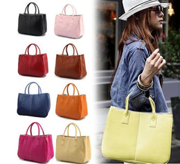 Wholesale Black Fur Handbags - 13 colors women leather tote handbag fashion Brand designer candy color casual shoulder bag for women