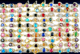 Wholesale Wedding Gold Rings For Ladies - Ring Jewelry Mix Lots 50pcs Rhinestone & CZ Crystal Rings Gold Plated Ring for Woman Ladies Wedding Ring [CZ41*50]
