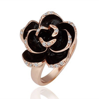 Wholesale Golden Ring 18 - Free Shipping 18 K Golden Crystal Black rose style flower design ring KR117 New 2012 style jewlery