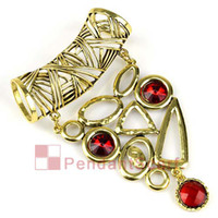 Wholesale Scarf Pendant Antique Bronze - 2PCS LOT, Top Quality DIY Jewellery Scarf Accessories Charm Red Rhinestone Antique Bronze Alloy Dangling Pendant Set, Free Shipping, AC0189A