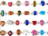 Wholesale Sparkling Rhinestone Ring - Fashion Jewelry Mix Lots 25pcs Charm Gorgeous Imitation Zircon Diamonds Sparkling Wedding Finger Rings [CZ42*25]