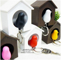 Wholesale Key Ring Holders For Wall - Novelty Bird Nest Sparrow House Key Ring with Whistle Plastic KeyChain Wall Hook Holders for Home Decoration free Delivery