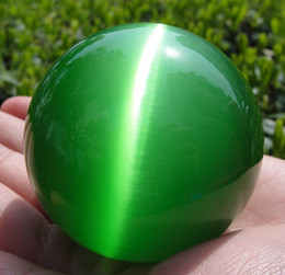 Wholesale Green Crystal Sphere - Hot Sell Asian Quartz Green Cat Eye Crystal Healing Ball Sphere 60MM + Stand