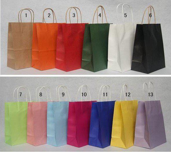 Best Price 500pcs/lot FEDEX DHL Free shipping 13 Color Fashion Hand Length Handle Paper Bag 27*21*11cm