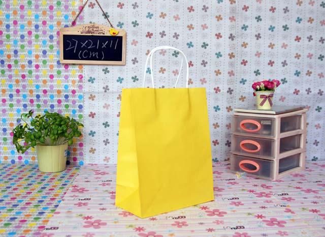 Mejor precio 500 unids / lote FedEx DHL Envío gratis Moda Mano longitud mango bolsa de papel 27 * 21 * 11 cm