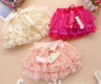 bebek tişörtlü dantel tutu toptan satış-Katmanlı Etekler Mini Etek Bebek Kız Etekler Tutuş Pileli Etek Çocuk Giyim Moda Dantel Prenses Etekler Çocuklar Sevimli Ilmek Kısa Etek