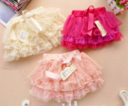 Wholesale Ruffle Children Clothing - Tiered Skirts Mini Skirt Baby Girls Skirts Tutus Pleated Skirt Children Clothing Fashion Lace Princess Skirts Kids Cute Bowknot Short Skirt
