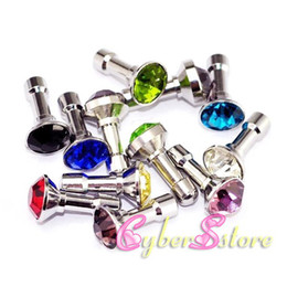 Wholesale Iphone 5g Dust - 500pcs Diamond Anti-Dust Plug Stopper Headset Jack 3.5mm Ear Cap Colorful Bling plugs for iphone 5 5G 3GS 4 4S