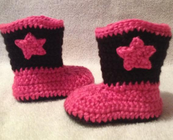 Crochet Shoes Cowboy Boots For Newborn Crocheted Baby Booties Infant