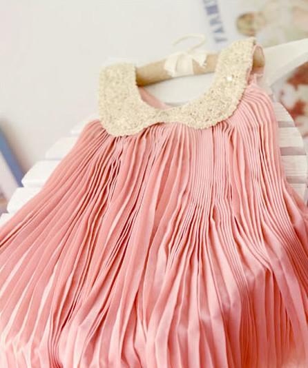 13 nuova versione coreana di abbigliamento bambini Gonna bambino skirt senza maniche vestito in chiffon gonna a pieghe bambini vestire in estate /