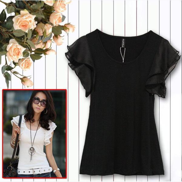 Fashion women blouses casual women's tops pullover for ladies sexy blouses short ruffled sleeve cotton blouse tshirts upper garment QY2
