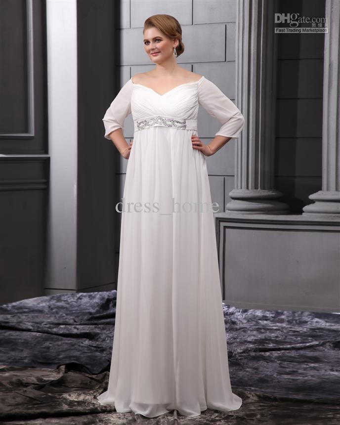 Plus Size Wedding Gown Patterns: Discount Most Popular A Line Sweetheart White Chiffon