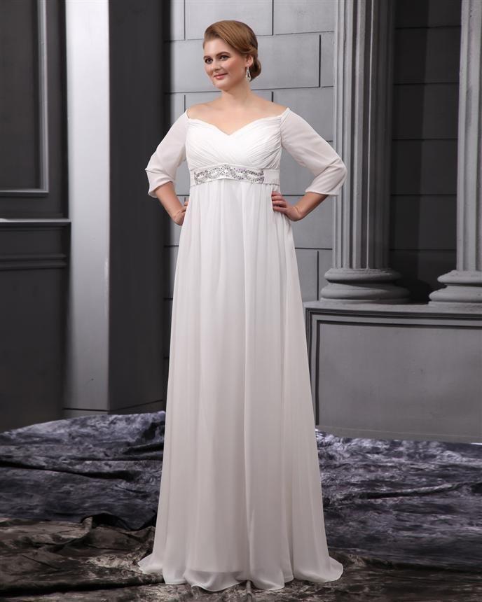 Plus Size Empire Waist Wedding Dress: Discount Most Popular A Line Sweetheart White Chiffon