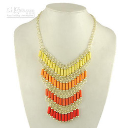 Wholesale Neon Fashion Necklaces - New Neon Candy Beads Necklaces Fashion Multicolor Bib Necklaces for Women Free Shipping
