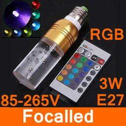 PurPle sPotlight bulb online shopping - 16 Color RGB LED Light E27 W AC V Crystal LED Bulb With Remote Control Brown Green Purple Freeshipping