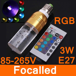 Wholesale Led Spotlights Purple - 16 Color RGB LED Light E27 3W AC 90-240V Crystal LED Bulb With Remote Control Brown Green Purple Freeshipping