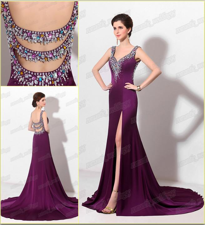Hot New Real Model Grape Sexy Prom Dresses V Neck Chapel Pageant ...