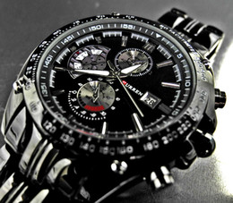 Wholesale Stainless Steel Ik - Free Shipping Luxury Black Skeleton Dial Automatic Men's Quartz IK Brand Hand Watch