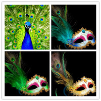 Wholesale Wedding Pheasant Feathers - HOT Venetian Masquerade Pheasant Peacock Feather Masks Half Face Masks Ball Party