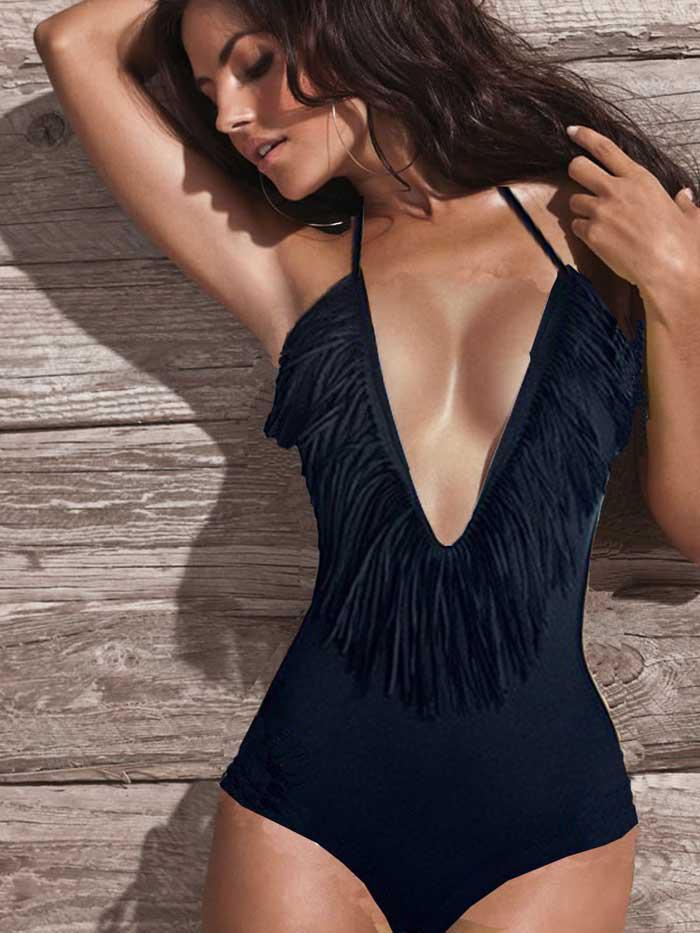fb52013c458d8 New Style Black Sexy Strappy Fringe Deep V Neck One Piece Monokini Swimsuit  Swimwear Size S