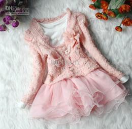 Wholesale Girls Beige Lace Skirt - EMS free! Baby clothes set Girls Tutu Skirt Long Sleeve Kids Lace Chiffon Dress Pink Cardigan Flower