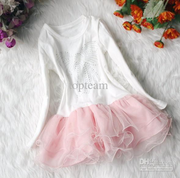 EMS free! Baby clothes set Girls Tutu Skirt Long Sleeve Kids Lace Chiffon Dress Pink Cardigan Flower
