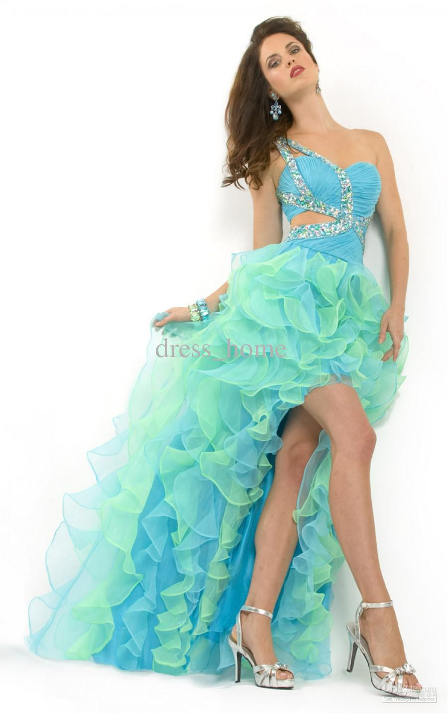 Front Short Long Back One Shoulder Sleeveless Blue Organza Ruffles ...