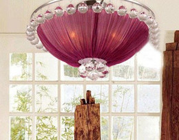 Araña de cristal púrpura comedor online-Minimalista moderno Púrpura Tela K9 Cristal Lámpara de Techo Comedor Dormitorio Araña Dia 59cm H 33cm