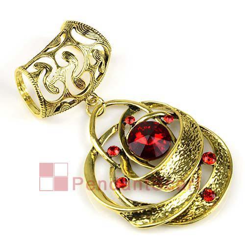 2 PÇS / LOTE, Top Fashion Estilo Espiral Ruby Red Glass Antique Bronze Liga Colar de Jóias Cachecol Conjunto Pingente Charme, Frete Grátis, AC0191