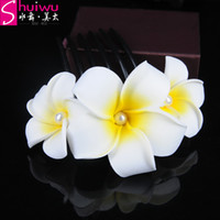 Wholesale Wholesale Insert Dress - hair jewelry frangipani the bride wedding dress flower insert comb y hair accessory marriage