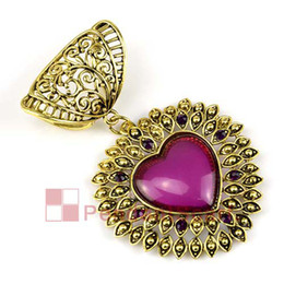 Wholesale Scarf Pendant Antique Bronze - 2PCS LOT, Top Popular Jewelry Necklace Scarf Accessories Purple Resin Antique Bronze Alloy Heart Pendant Set Charm, Free Shipping, AC0192B