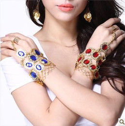 Wholesale Wholesale Costume Charm Bracelets - 2013 Punk Jewelry Belly Dance 9 Pcs Gemstone Ring Bracelet Chain India Dance Jewelry women costumes Accessory 4 Colors Mix FM2