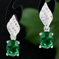 Wholesale Real Emerald Earrings - Ladies Cute Oval Stone Green Emerald Real 925 Sterling Silver Dangle Earrings NAL E075