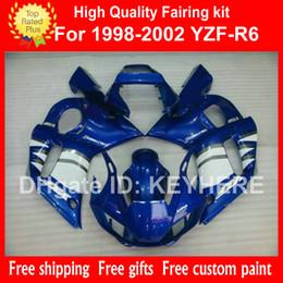 Wholesale 1998 Yamaha R6 Custom - Custom race fairing kit for YZF-R6 98 99 00 01 02 YZFR6 1998 1999 2000 2001 2002 fairings G4a blue white aftermarket motorcycle body work