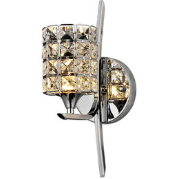 Wholesale Chrome Crystal Wall Lights - Modern Bedroom Crystal Wall light Polished Chrome Base Living Study Dining Room Wall Lamp Pub Club Glaring Wall Lighting Fixtures