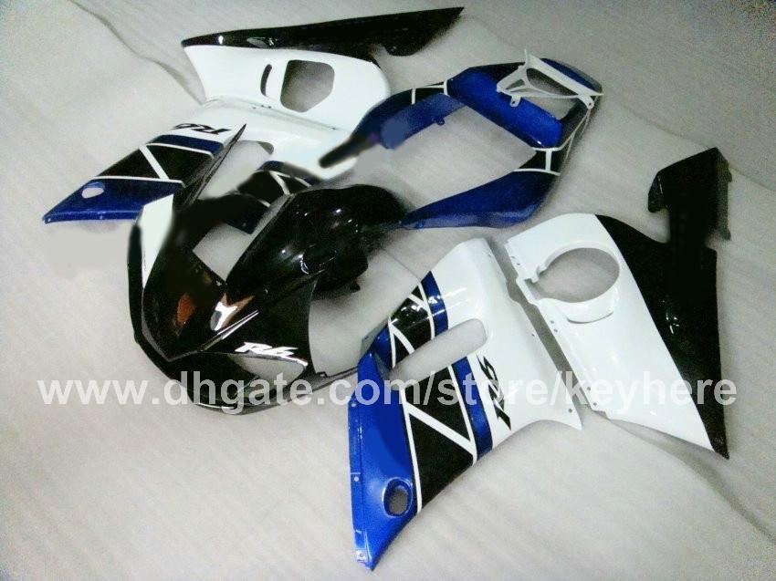 Personnalisez le kit de carénage en plastique ABS pour YZF R6 1998 1999 2000 2001 2002 YZFR6 98 99 00 01 02 carénage pièces de moto G8b blanc noir bleu