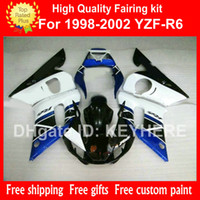 Wholesale Plastic R6 - Customize ABS Plastic fairing kit for YZF R6 1998 1999 2000 2001 2002 YZFR6 98 99 00 01 02 fairings G8b white black blue motorcycle parts