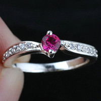 Wholesale Lady Ruby Band Ring - Lady Lab Red Ruby Real Wedding Band 925 Sterling Silver Ring WEDN R142 Size 5 6 7 8.5 9.5