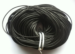 Wholesale real roll - 100 M ROLL Length Black Round Real Leather Jewelry Cord 3mm