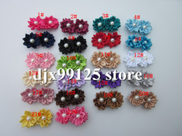 Wholesale Satin Multilayers Flower - Free Shipping!50pcs lot DIY flower with 4.5cm CLIP,Satin Ribbon Multilayers Flower With Pearl hair clip,Girl's Hair Accessories