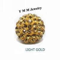 esferas de metal venda por atacado-Grânulos De Cristal De 10mm 6 Linhas de Luz Strass Ouro Pave Bola Jóias Encontrar 50 Pçs / lote