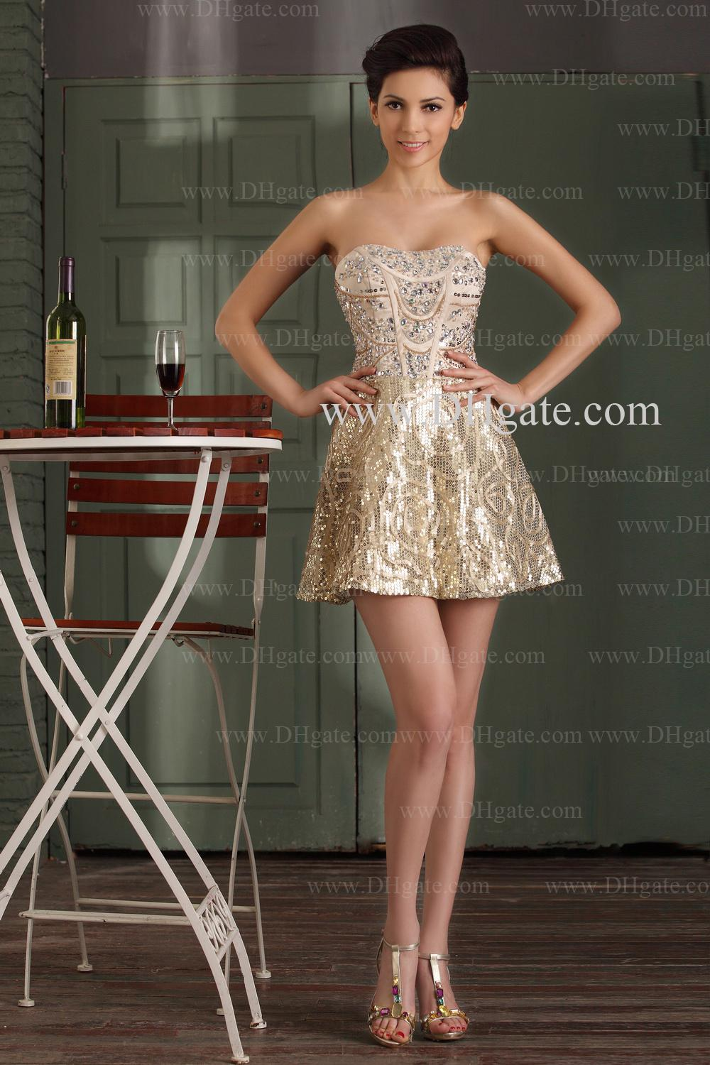 2013 Charming Gold Cocktail Dress A Line Short Sweetheart Rhinestone ...