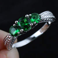 Wholesale Pure Stone Silver Ring - Lady 3-Stone Green Emerald Pure Wedding Band Sterling 925 Silver Ring WEDN R158 Size 6.5 7 8 9