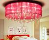Modern Minimalist Red Purple Fabric Glass Ceiling Lamp Living Room Bedroom Chandelier Dia 40cm H 25cm